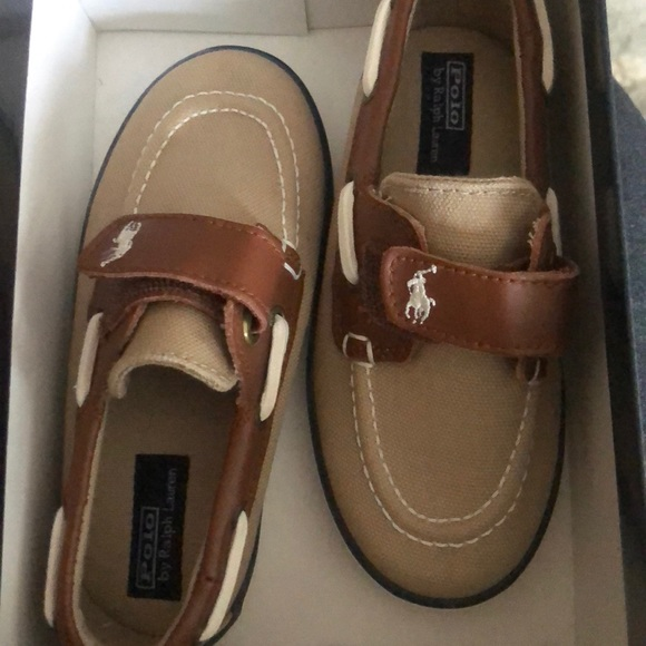 New Polo Rl Boys Boat Shoes Size 9
